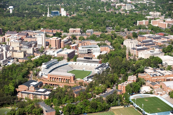 Overhead of the university campus in Chapel Hill, NC